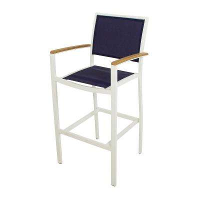 Bayline Satin White All-Weather Aluminum/Plastic Outdoor Bar Arm Chair in Navy Blue Sling