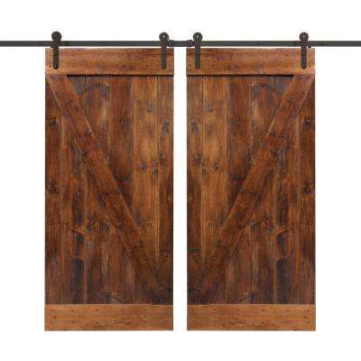 72 in. x 84 in. Walnut Stain Wood Double Barn Door with Sliding Door Hardware Kit