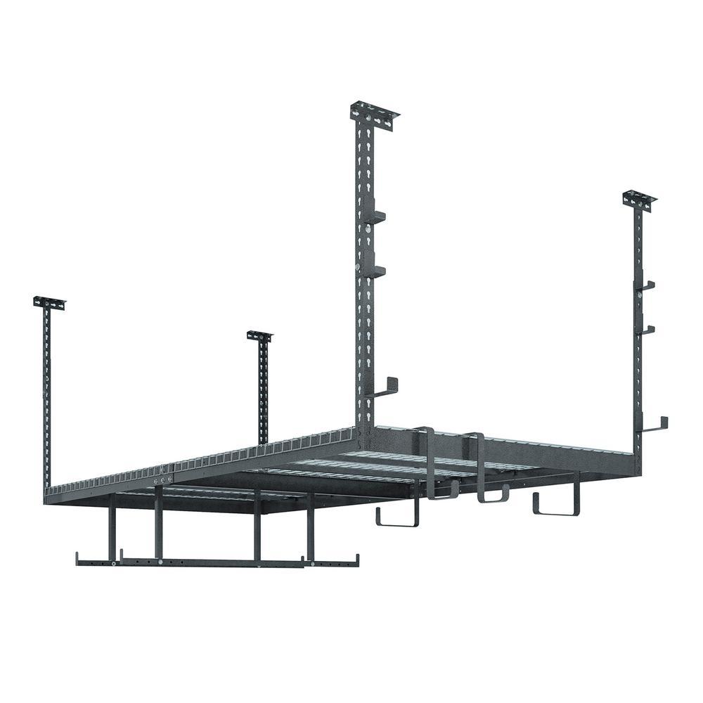 VersaRac 42 in. H x 48 in. W x 96 in. D Adjustable Height Garage Ceiling Mounted Storage Unit in Gray