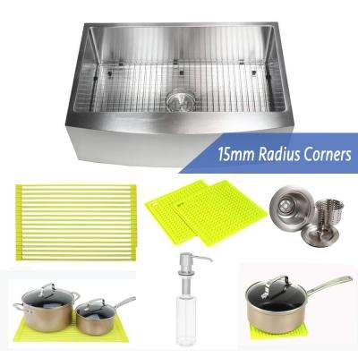 33 in. x 21 in. x 10 in. Premium 16-Gauge Stainless Steel Farmhouse Apron Single Bowl Kitchen Sink Combo W/ Accessories