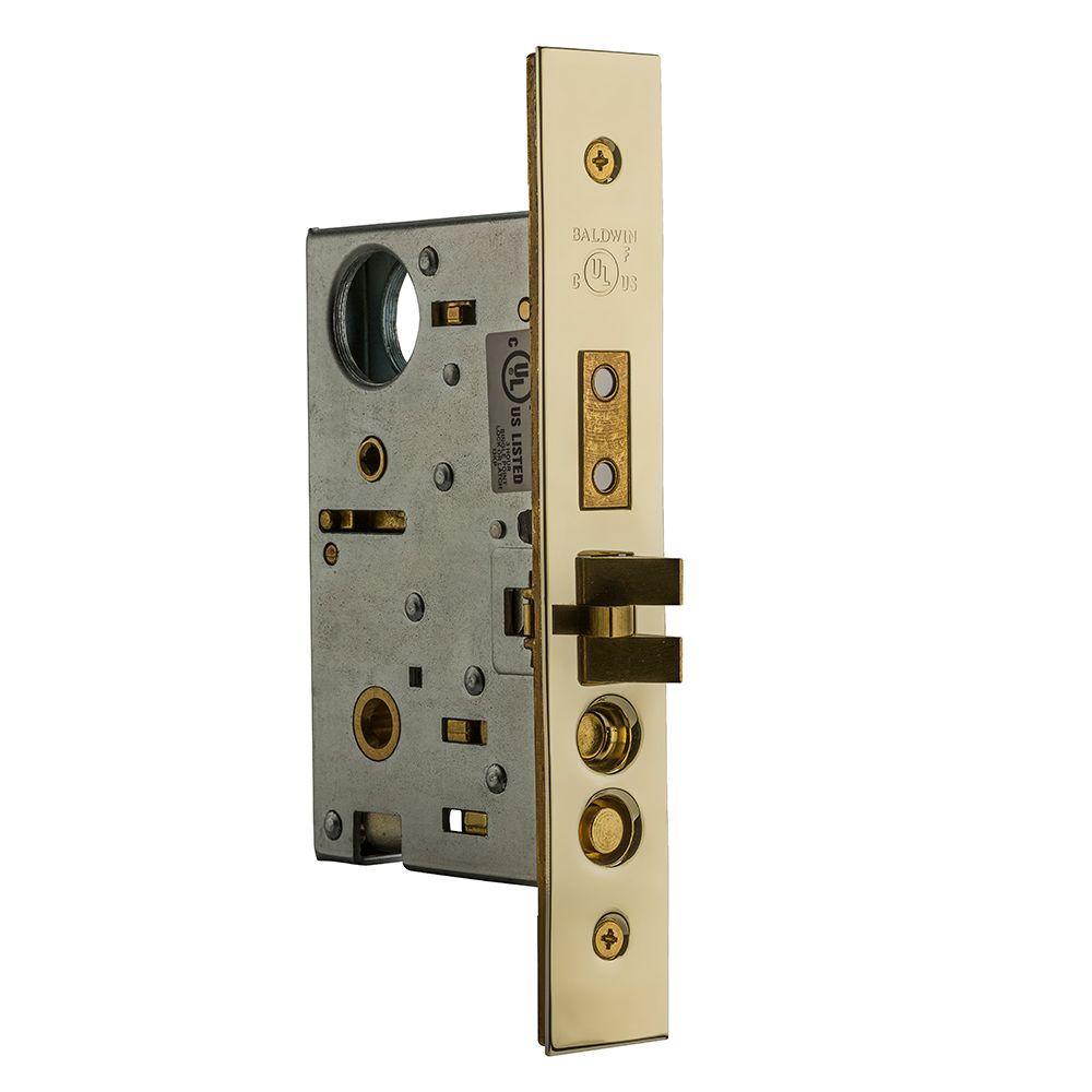 Baldwin Lifetime Polished Brass Entrance Emergency Egress Right Handed Mortise Lock