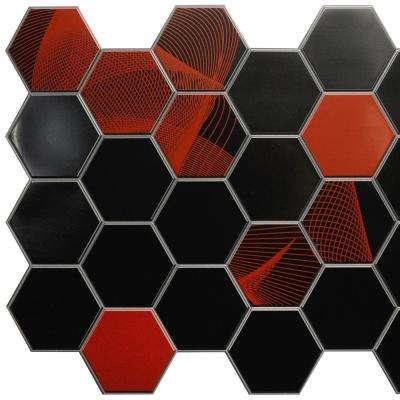 3D Falkirk Retro 10/1000 in. x 38 in. x 19 in. Black Red Brown Hexagon Mosaic PVC Wall Panel