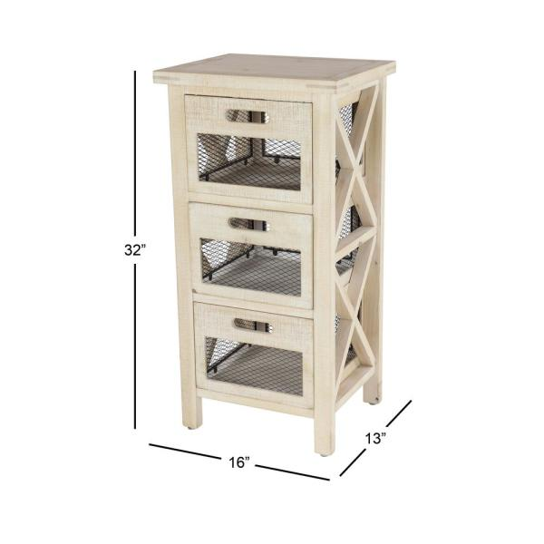 Small 3 Drawer Beige Wood Cabinet