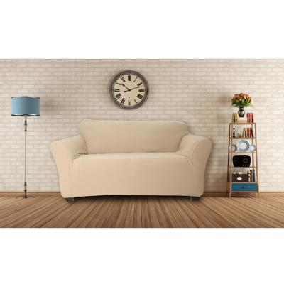 Hanover Water Resistant Taupe Fit Polyester Fit Loveseat Slip Cover