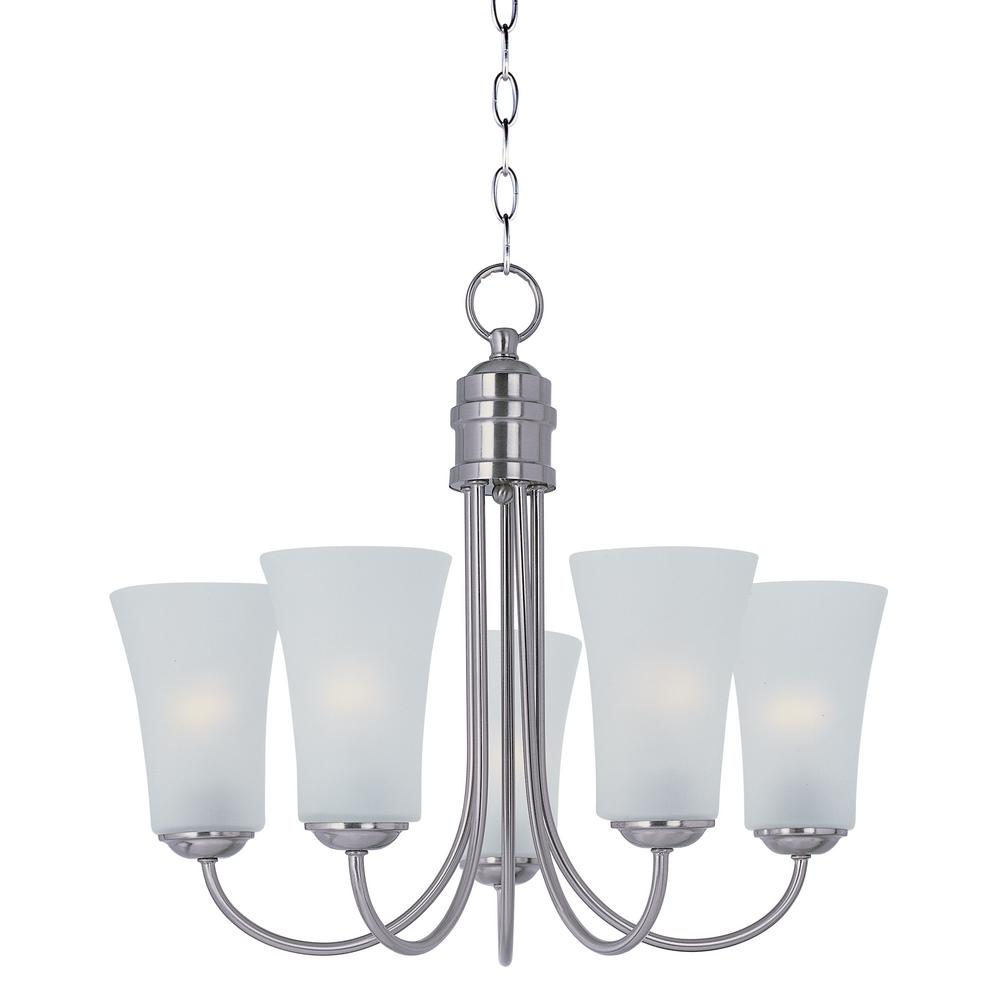 Logan 5-Light Satin Nickel Chandelier with Frosted Shade