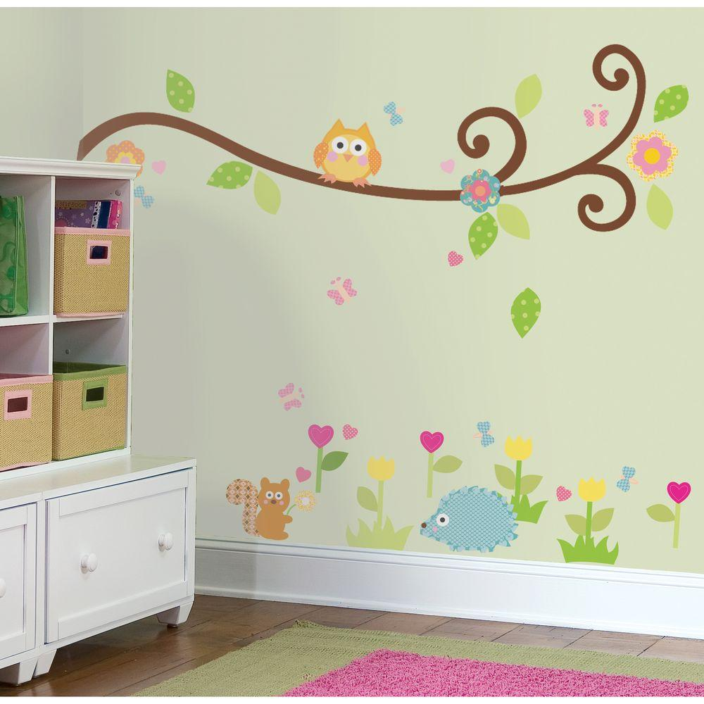 RoomMates Happi Scroll Branch Peel And Stick Wall DecalRMKSCS - Nursery wall decals home depot