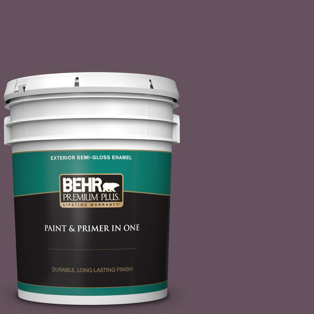 Behr Premium Plus 5 Gal N100 6 Urban Legend Semi Gloss Enamel Exterior Paint And Primer In One 534005 The Home Depot