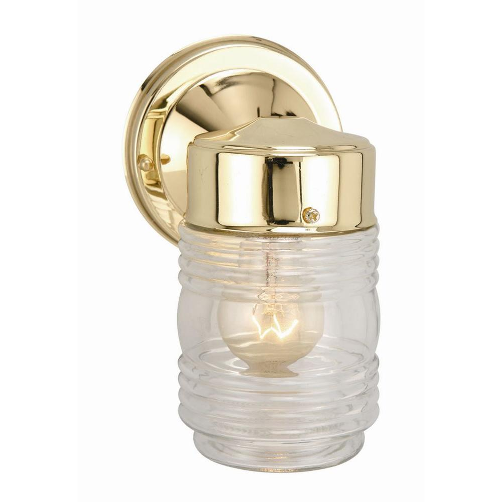 Polished Brass Outdoor Wall-Mount Jelly Jar Wall Light