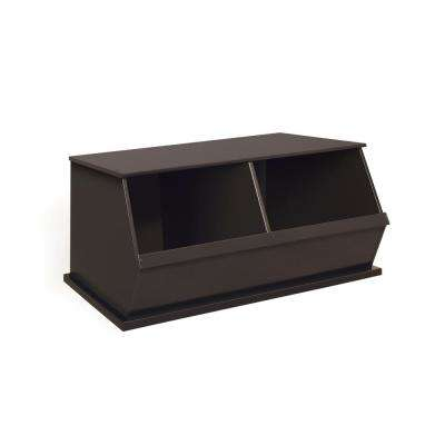 37 in. W x 17 in. H x 19 in. D Espresso Stackable 2-Storage Cubbies
