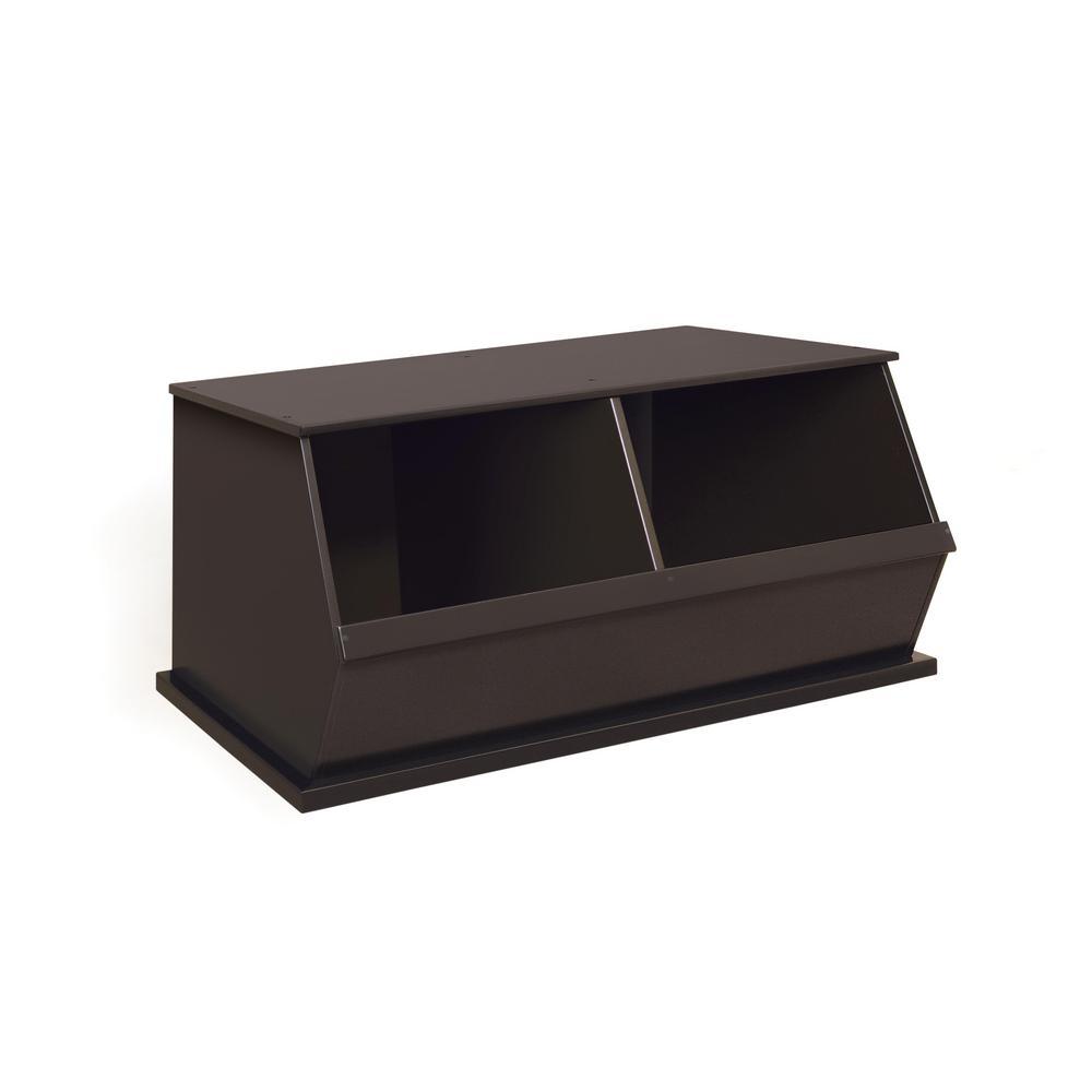 37.25 in. W x 19.25 in. D Espresso Stackable 2-Storage Cubbies