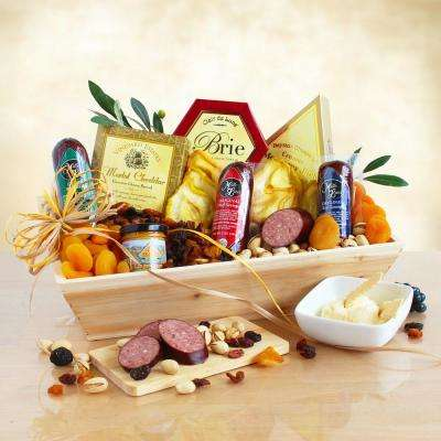 Deluxe Meat and Cheese Wooden Gift Crate