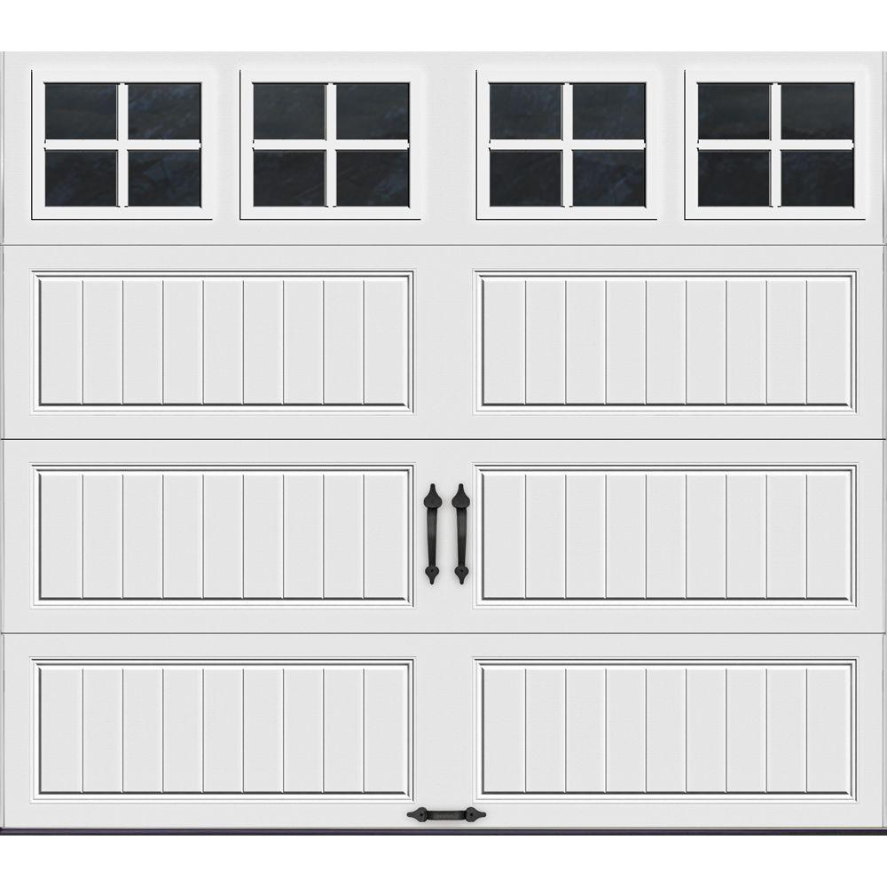 Clopay Gallery Collection 8 ft. x 7 ft. 18.4 R-Value Intellicore Insulated White Garage Door with SQ22 Window