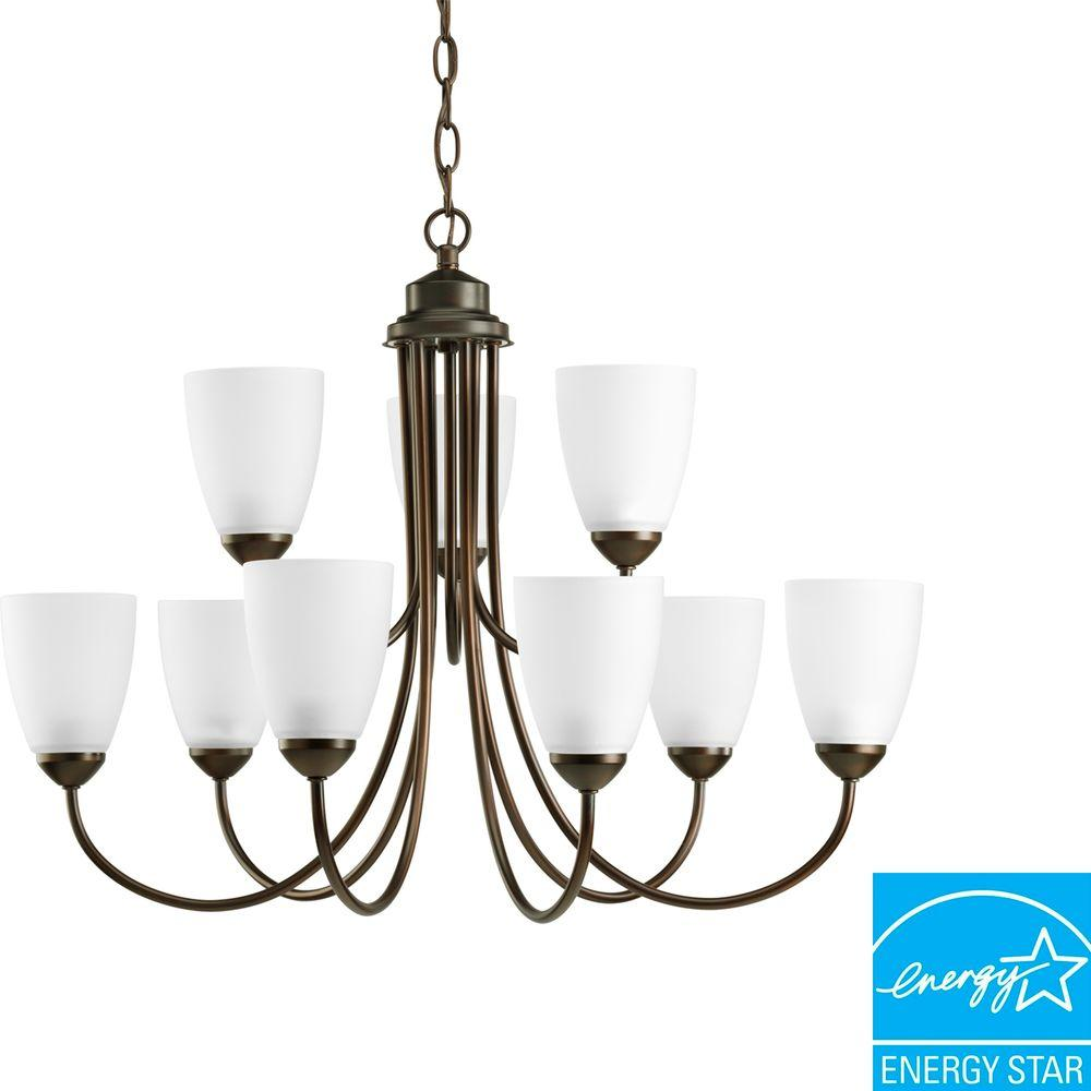 Progress Lighting Gather Collection 9-Light Antique Bronze Chandelier with Etched Glass