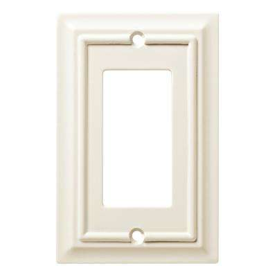 Architectural Wood Decorative Single Rocker Switch Plate, White