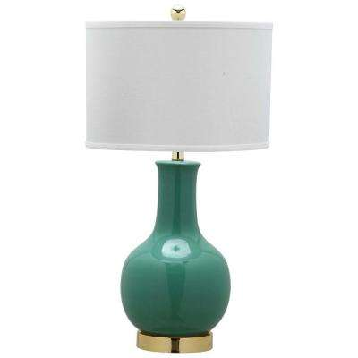 27.5 in. Emerald Ceramic Paris Lamp with White Shade