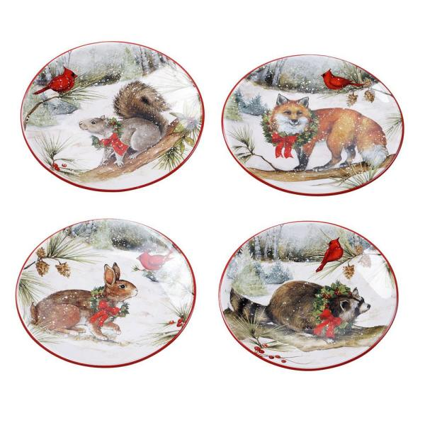 6 in. Winter Forest Multicolored Earthenware Canape Plate (Set of 4)