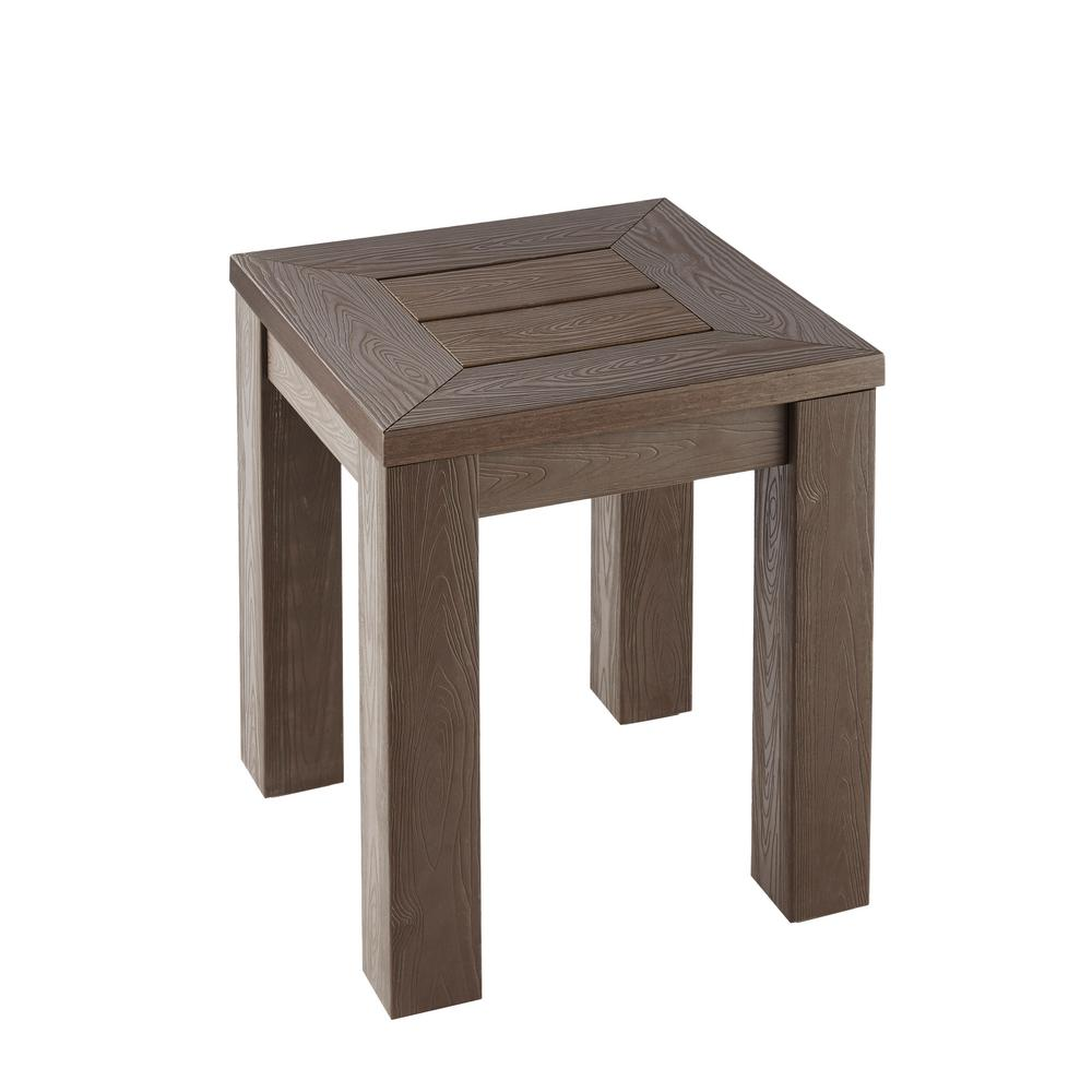 hampton bay tacana polywood outdoor side table fta30586a the home depot. Black Bedroom Furniture Sets. Home Design Ideas