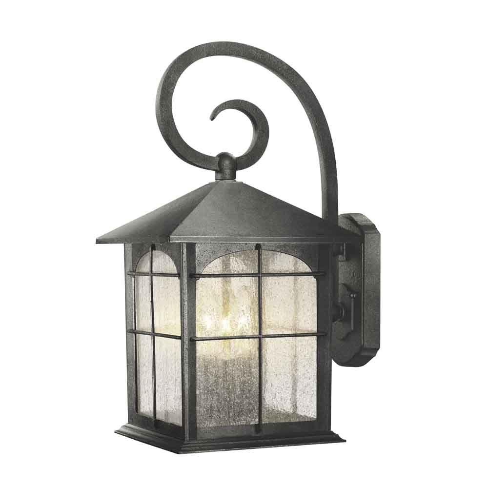 Outdoor wall mounted lighting outdoor lighting the home depot brimfield 3 light aged iron outdoor wall lantern aloadofball Images