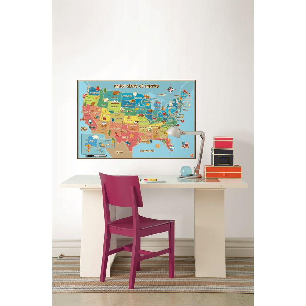 Kids USA Dry Erase Map Wall Decal  sc 1 st  Home Depot & WallPOPs 24 in. x 36 in. Kids USA Dry Erase Map Wall Decal-WPE0623 ...