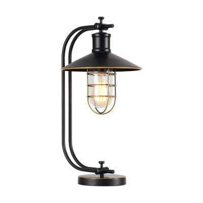 Kyriaki 22 in. Black Indoor Desk Lamp with Glass Shade