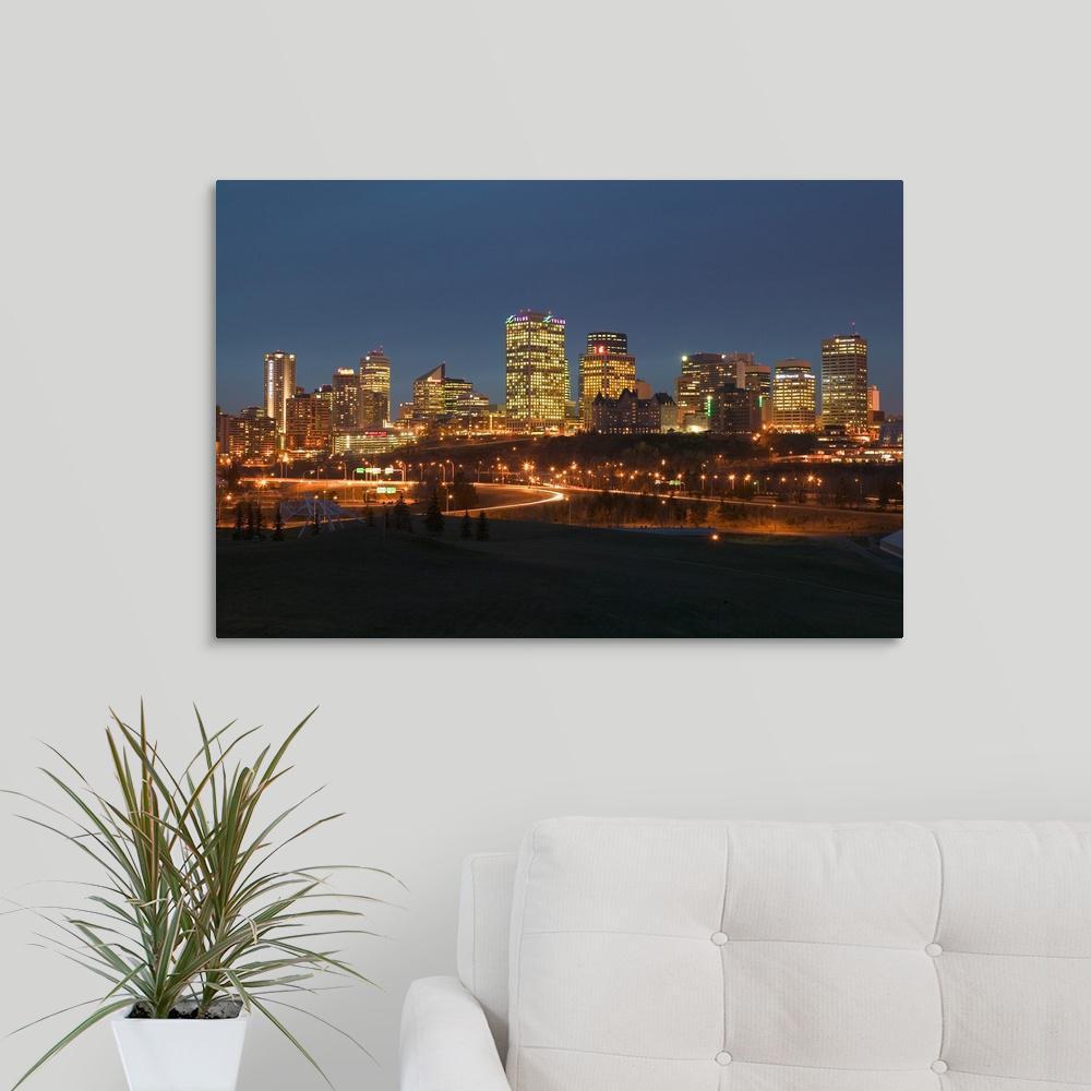 Canada Alberta Edmonton Downtown Skyline By Walter Bibikow Canvas Wall Art