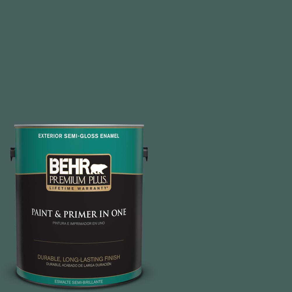 BEHR Premium Plus 1-gal. #BIC-54 Vert Pierre Semi-Gloss Enamel Exterior Paint
