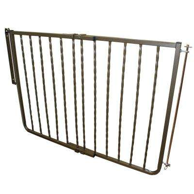 30 in. H x 27 in. to 42.5 in. W x 2 in. D Wrought Iron Decor Gate Bronze