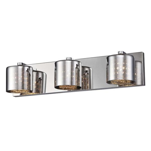 Alaura Collection 20.5 in. 3-Light Chrome Vanity Light with Chrome Glass Shades