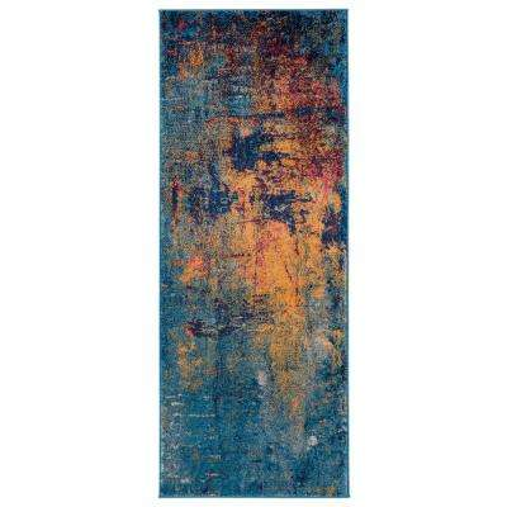 Mandisa Orange-Navy Abstract 2 ft. 6 in. x 6 ft. Runner Rug
