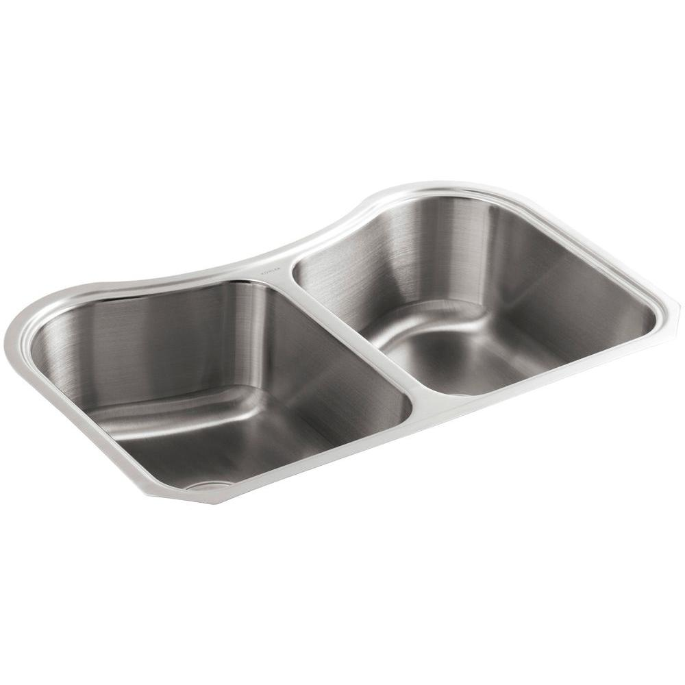Staccato Undermount Stainless Steel 32 in. Double Bowl Kitchen Sink