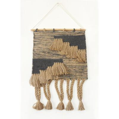Rustic Natural / Black Fringed Wall Tapestry