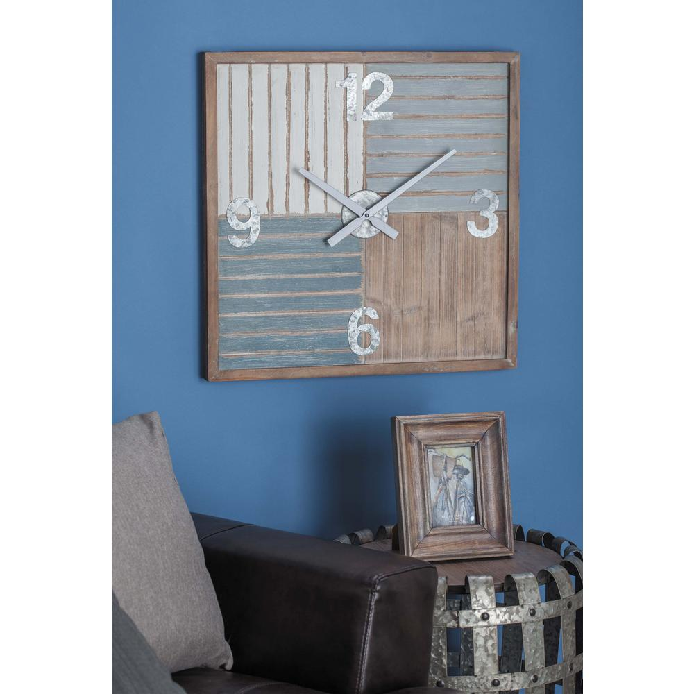 24 in. x 24 in. Rustic Brown Wall Clock in Distressed