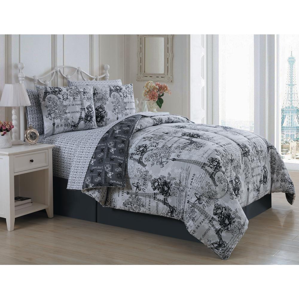 Amour 8-Piece Black/White King Bed in a Bag AMU8BBKINGGHBW