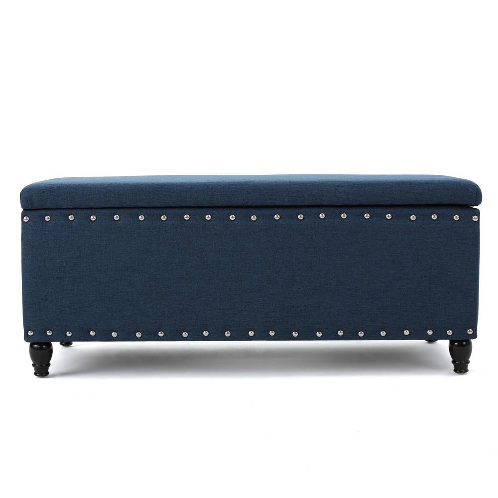 Noble House Tatiana Navy Blue Fabric Storage Bench with Studs