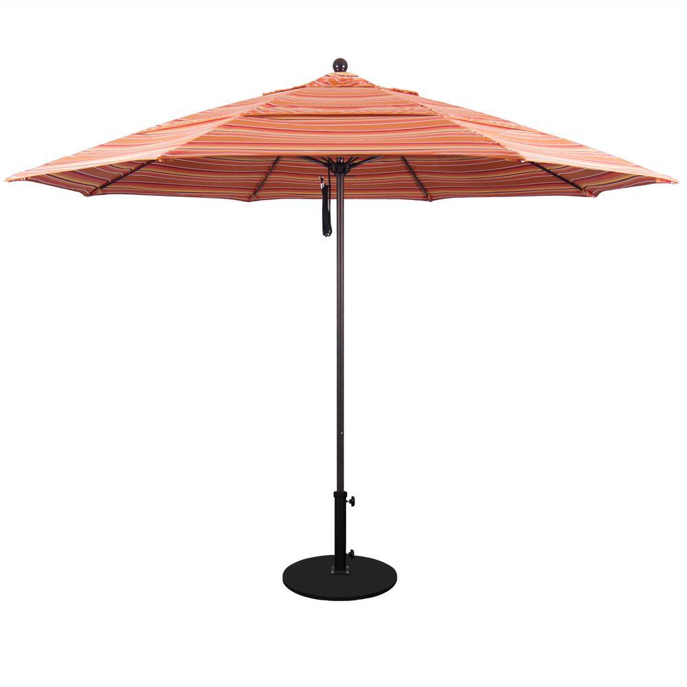 California Umbrella 11 ft  White Aluminum Pole Market Fiberglass Ribs  Pulley Lift Outdoor Patio Umbrella in Dolce Mango Sunbrella