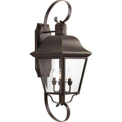 Andover 4-Light 34.5 in. Outdoor Antique Bronze Wall Lantern Sconce