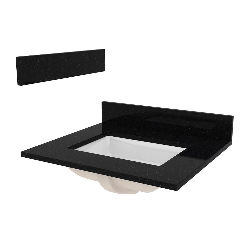 25 in. W Granite Vanity Top in Black Galaxy with White sink, Backsplash and Optional Sidesplash
