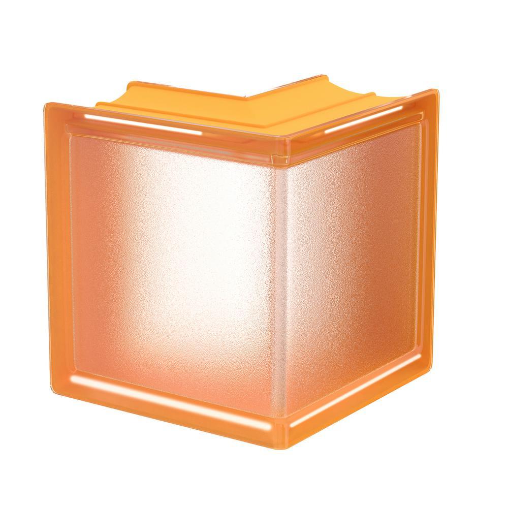 Apricot 5.75 in. x 5.75 in. x 3.15 in. Classic Yellow Corner Glass Block