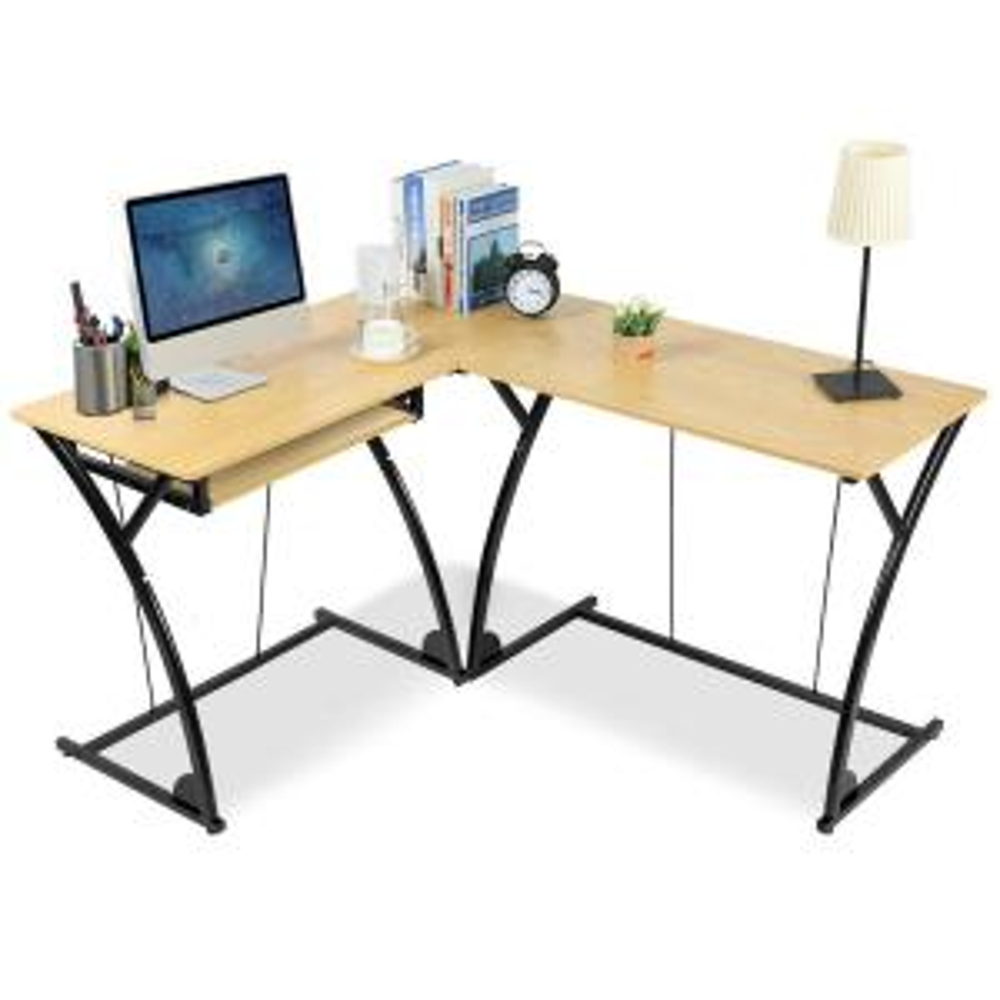 Costway L-Shaped Home Office Corner Desk Computer PC Laptop ...