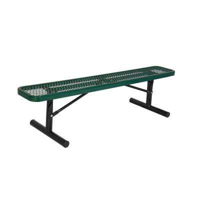 Portable 8 ft. Green Diamond Commercial Park Bench without Back