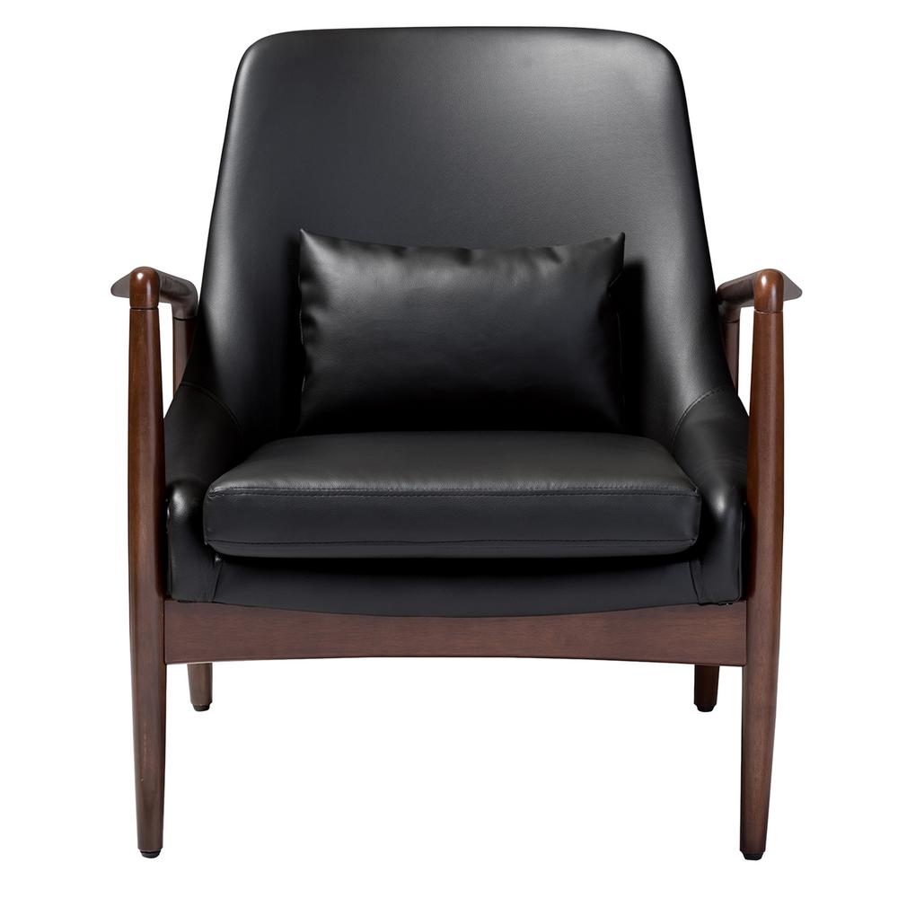 Carter Mid-Century Black Faux Leather Upholstered Accent Chair