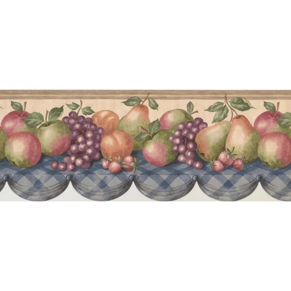 Retro Art Fruit Apple Pear Grapes Strawberry On Kitchen Table Rustic Prepasted Wallpaper Border Cp033105b The Home Depot