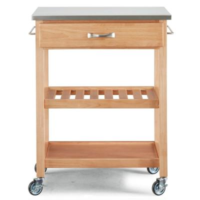 Vineyard Maple Kitchen Cart with Stainless Top