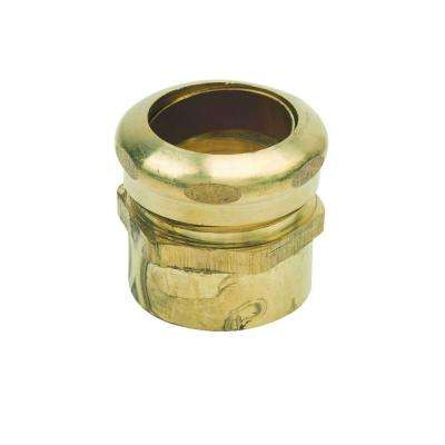 1-1/4 in. O.D. Compression x 1-1/2 in. O.D. Male Sweat Brass Waste Connector with Rough Finish