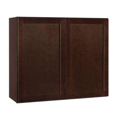 Shaker Assembled 36x30x12 in. Wall Kitchen Cabinet in Java