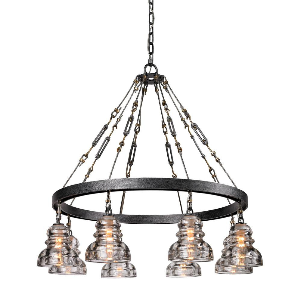 Troy lighting menlo park 8 light old silver pendant f3136 the home troy lighting menlo park 8 light old silver pendant aloadofball Image collections