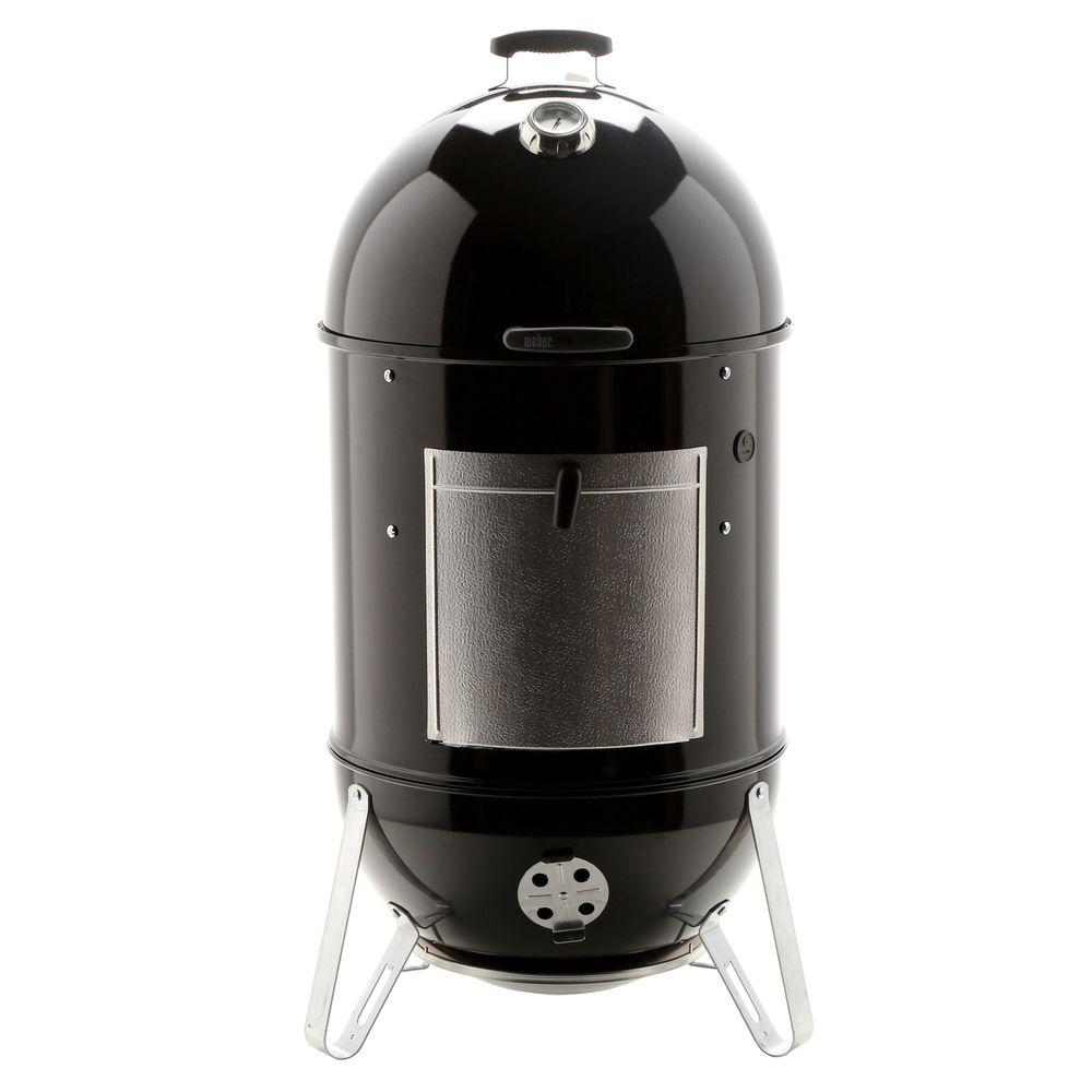 weber 22 1 2 in smokey mountain cooker smoker in black with cover and built in thermometer. Black Bedroom Furniture Sets. Home Design Ideas