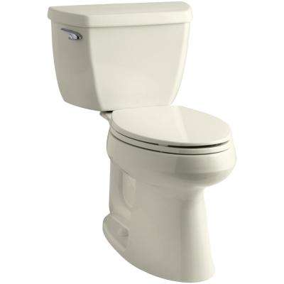 Highline 2-Piece Complete Solution 1.28 GPF Single Flush Elongated Toilet in Biscuit with Seat Included (3-Pack)