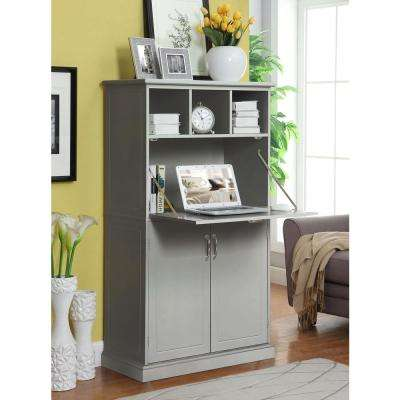 Amelia Light Grey Storage Wooden Secretary Desk