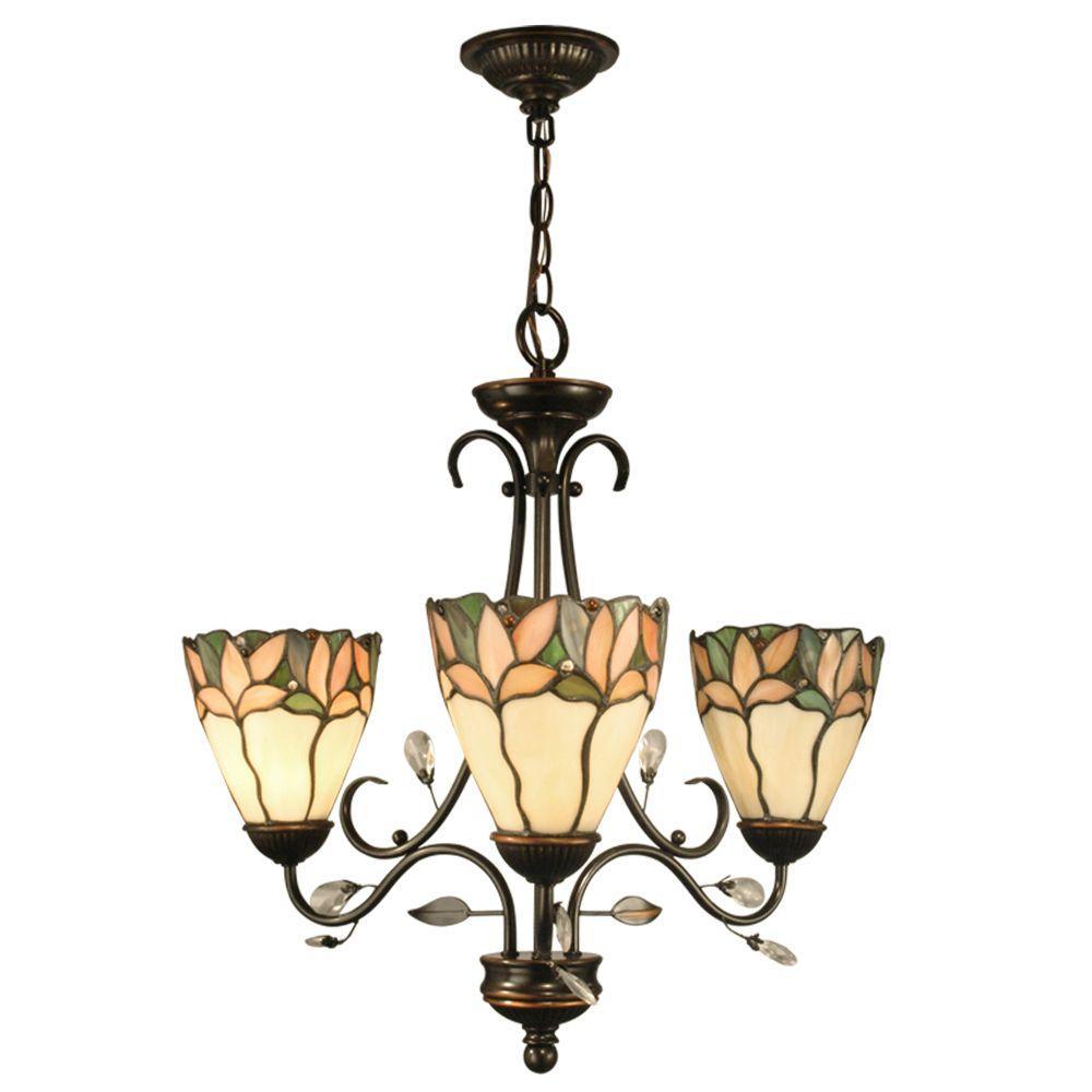 Springdale Lighting Crystal Leaf 3 Light Antique Bronze Hanging Chandelier